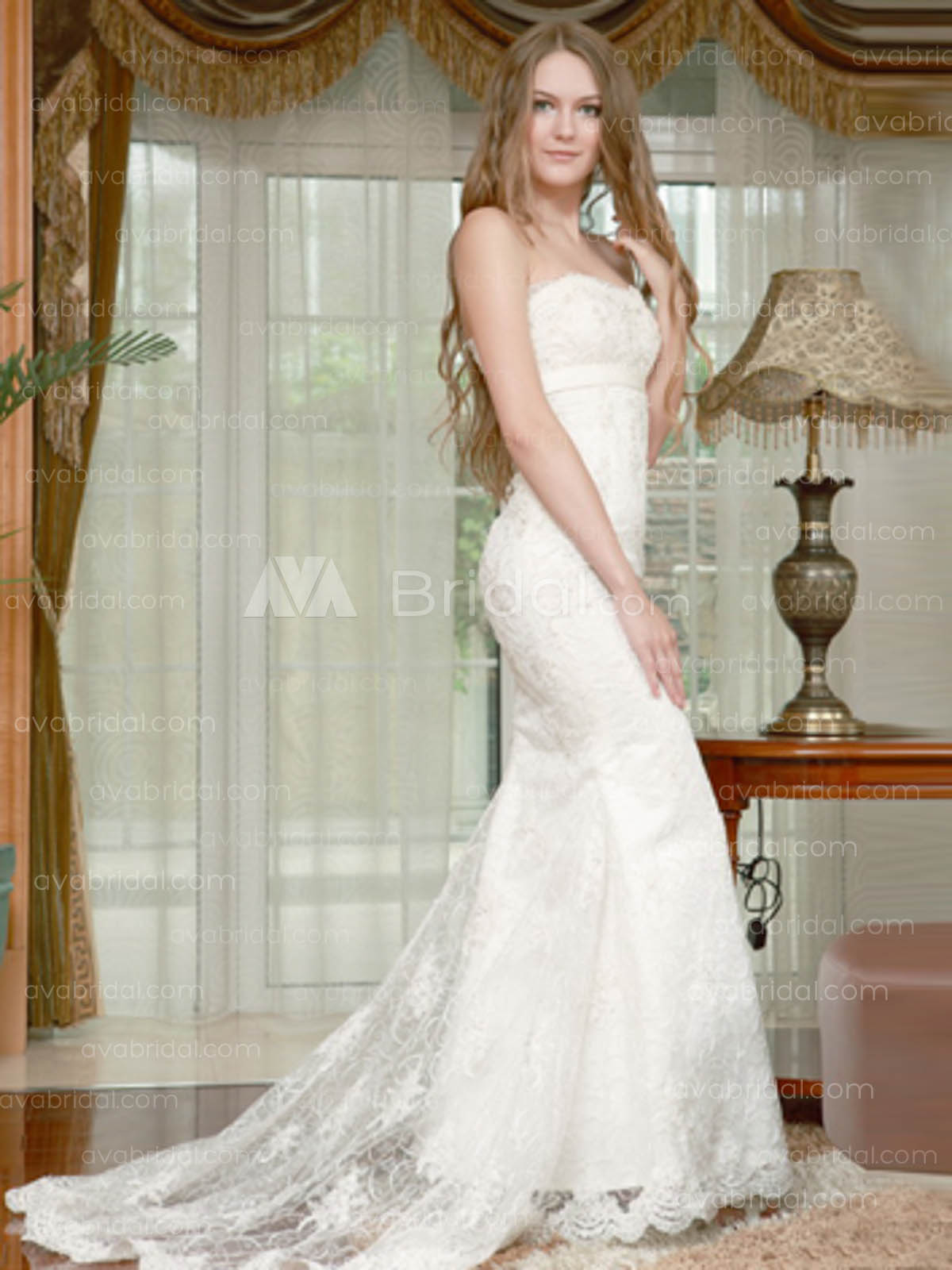 Luxurious Lace Wedding Dress W618-Front