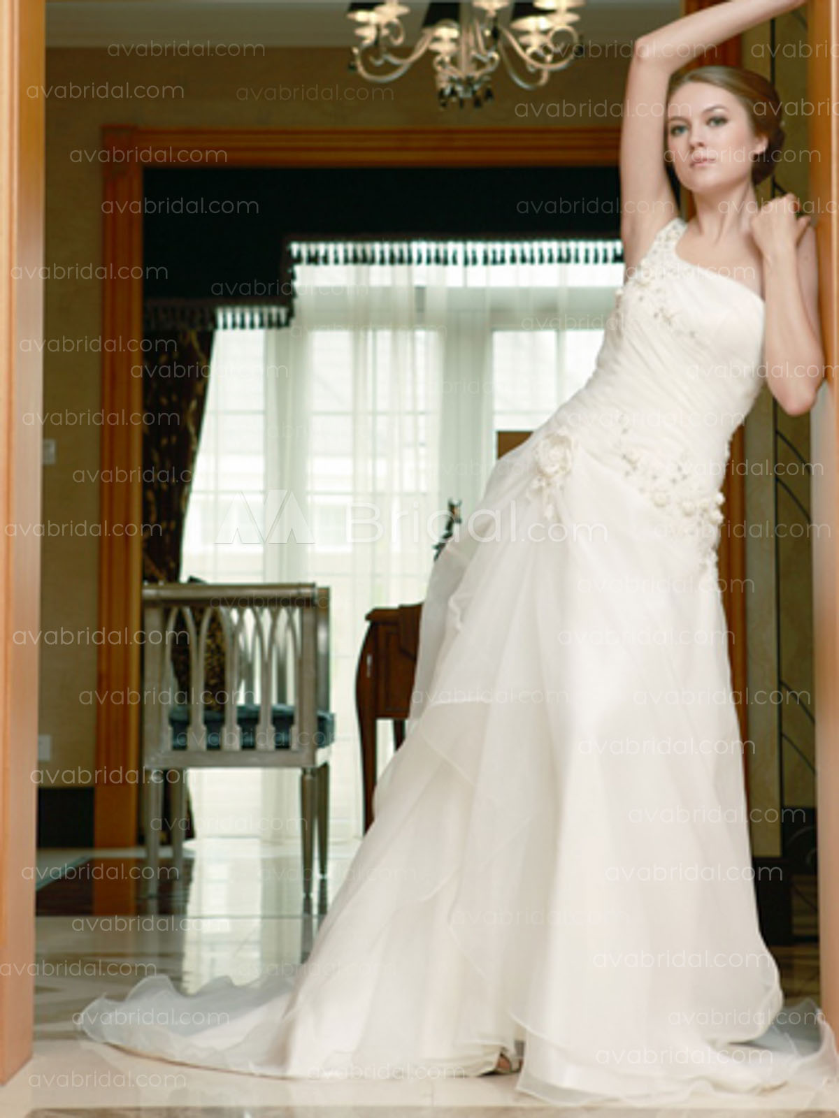 Chic Asymmertric Wedding Dress W624-Front