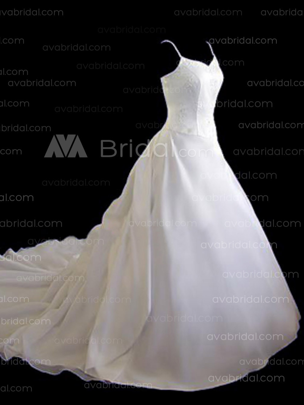 Classic Embroidered Bodice Satin Wedding Dress W63-Right side