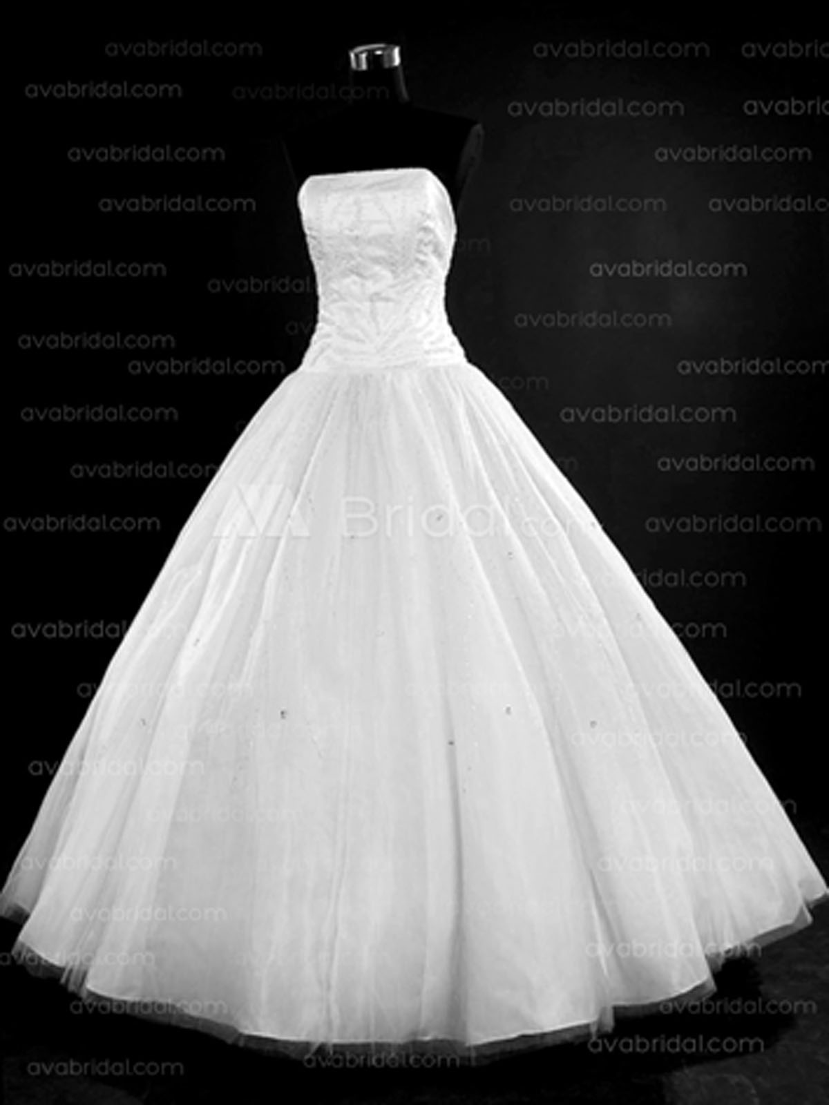 A-Line Straight Chapel Train Satin Tulle Wedding Dress (W716)-Front
