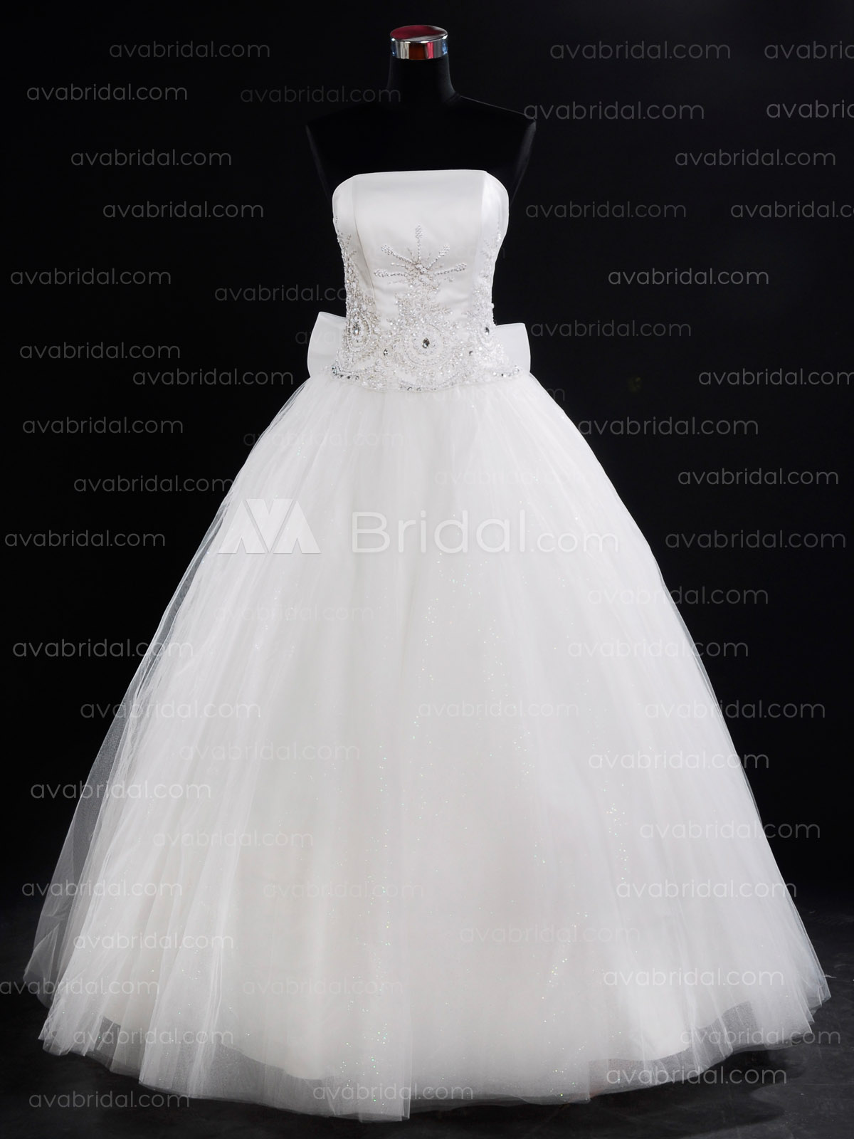 Princess Embroidered Tulle Wedding Dress W726-Front