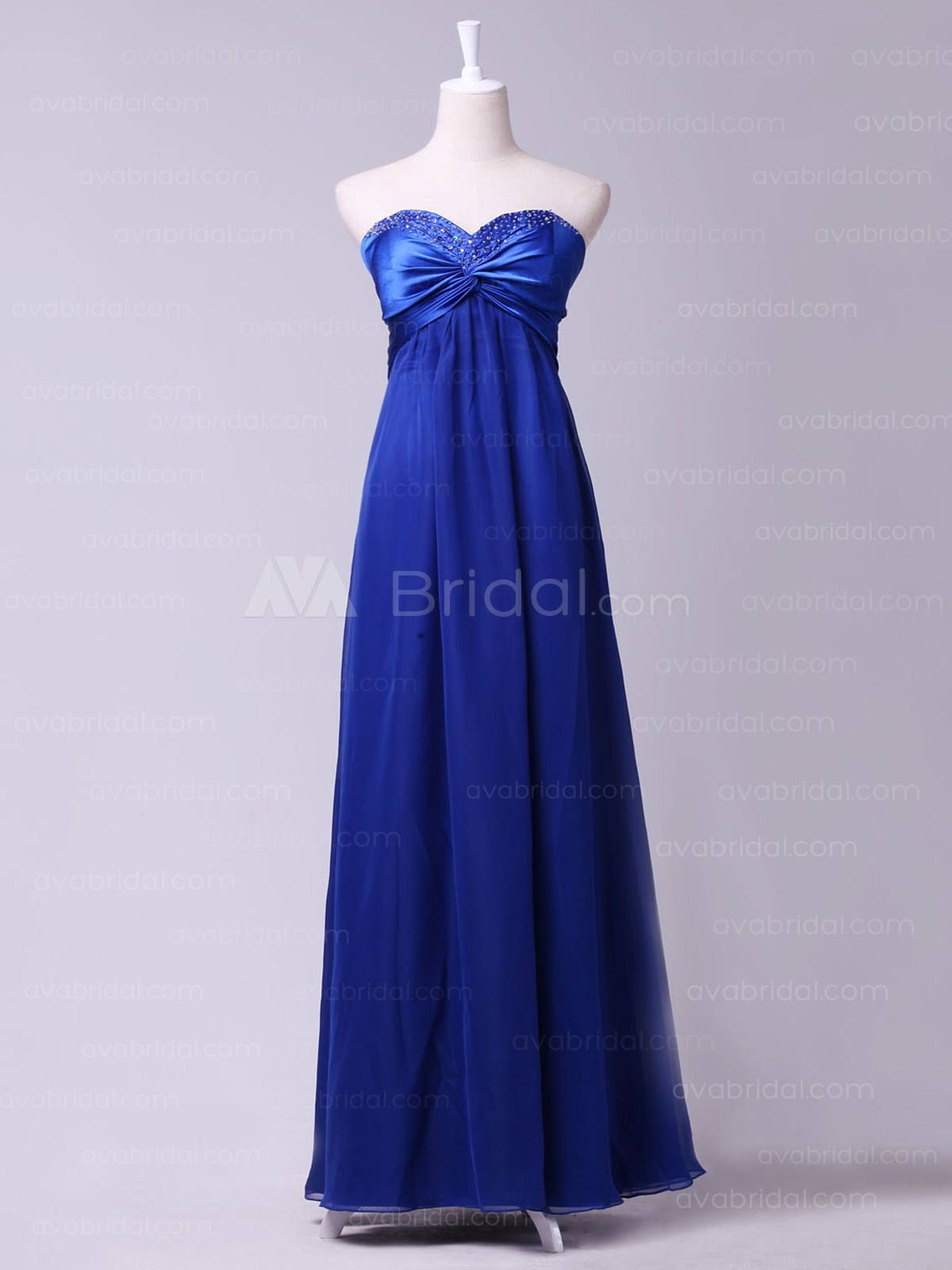 Modern Slim Line Chiffon Bridesmaid Dress B450-Front