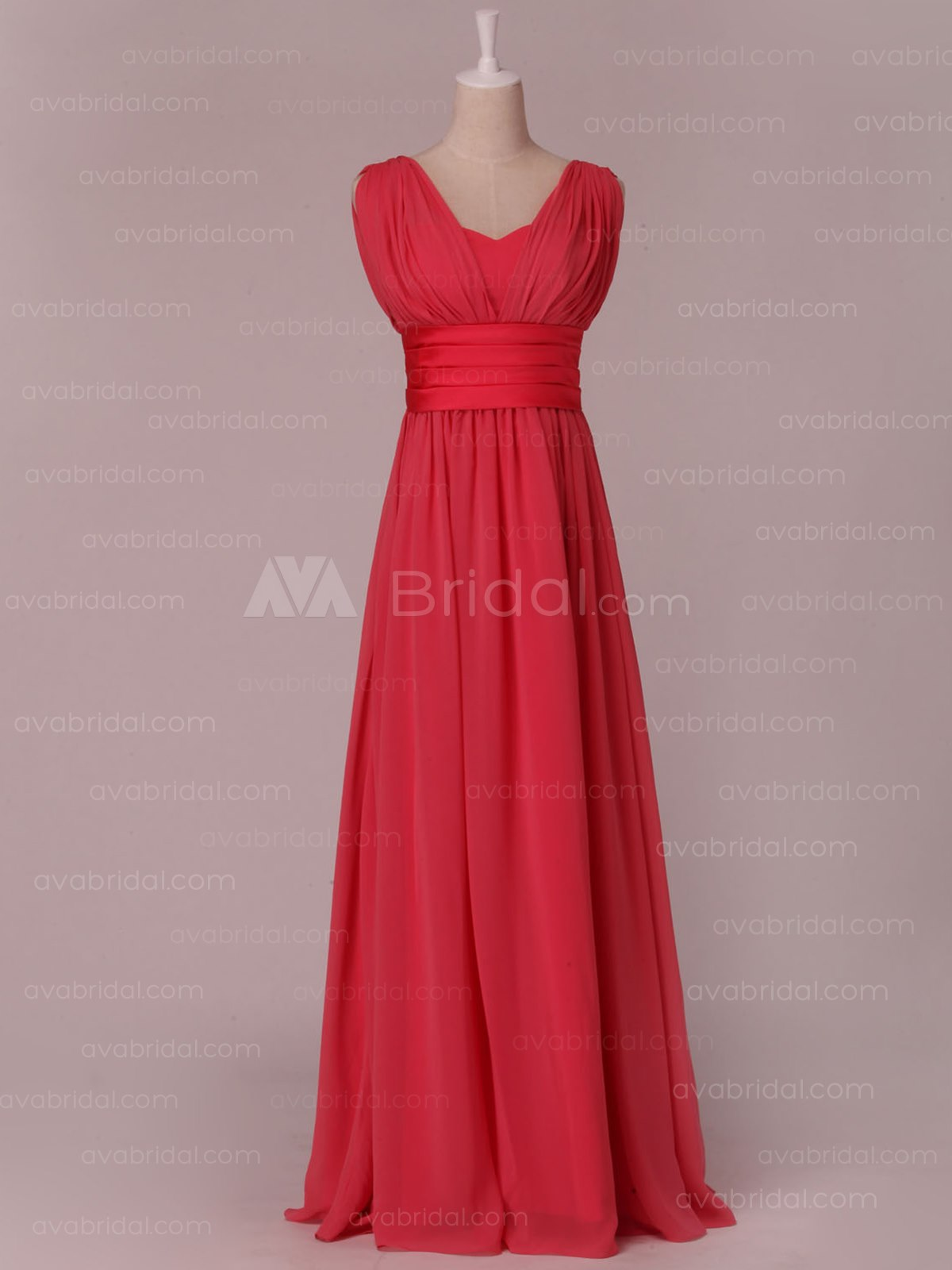 A-line V Neckline Chiffon Bridesmaid Dress B451-Front