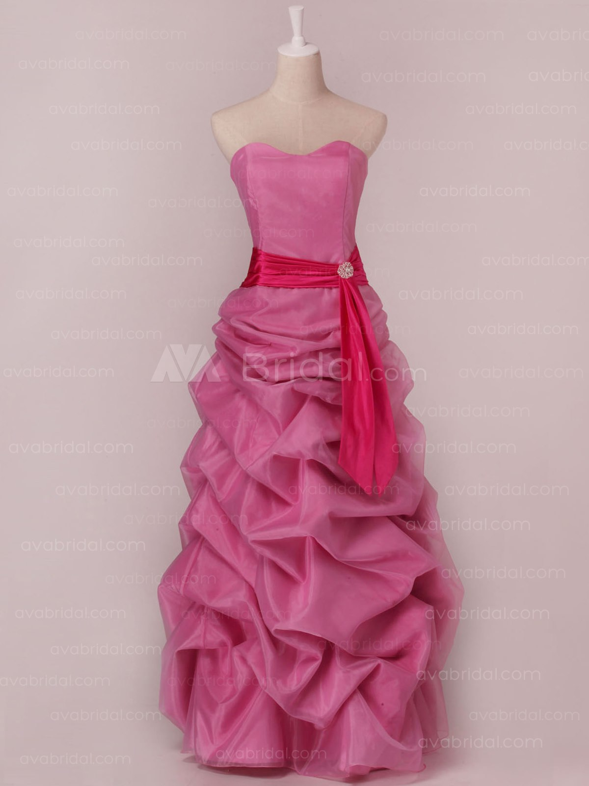 Glamorous Ruffle Skirt Organza Bridesmaid Dress B453-Front