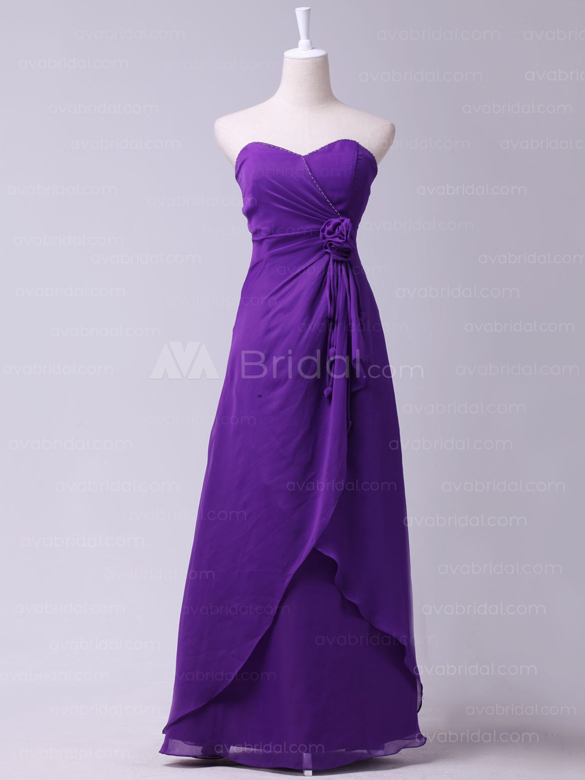 Chic Beaded Chiffon Bridesmaid Dress B456-Front