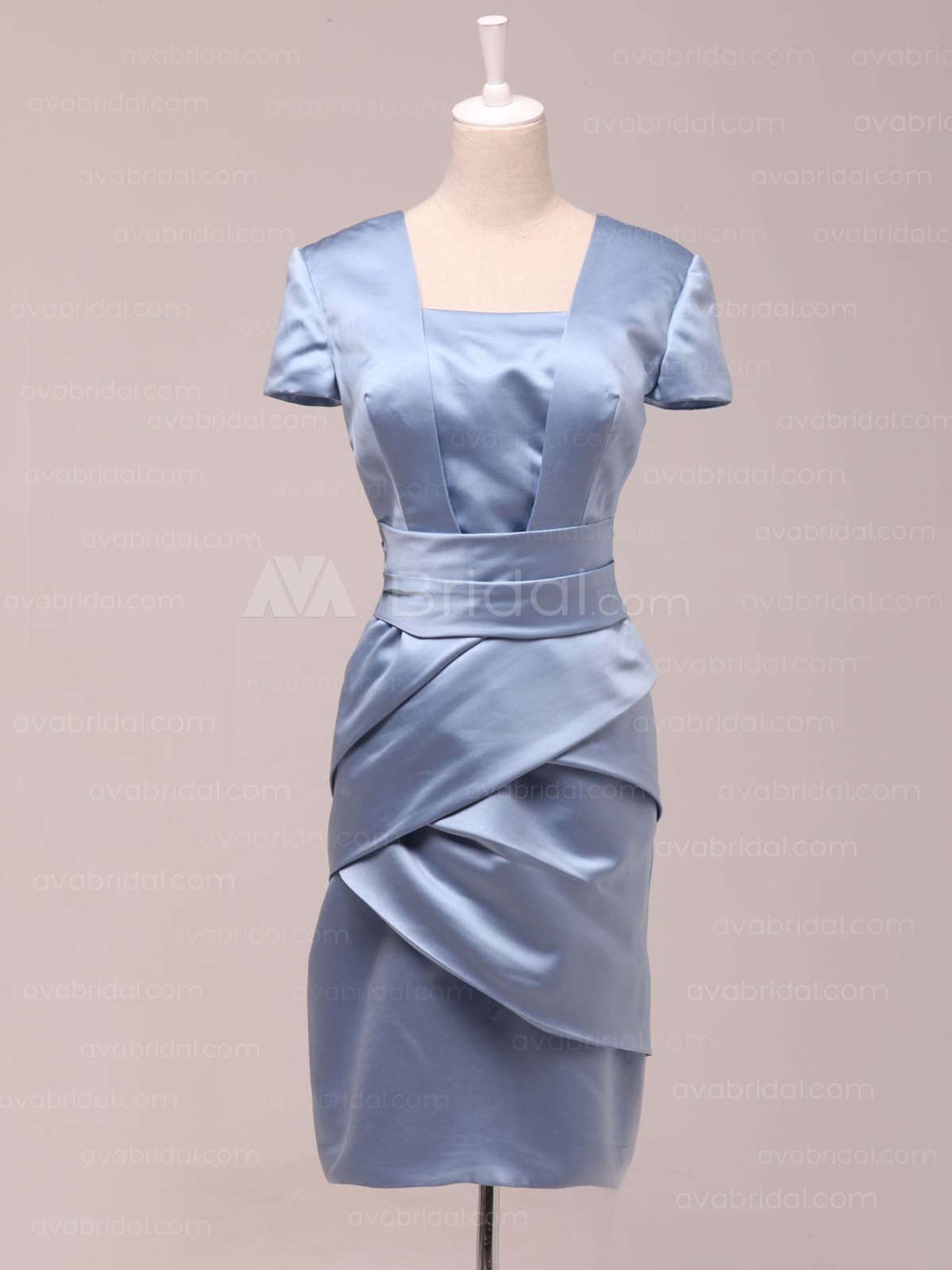 Formal Sheath Satin Bridesmaid Dress B460-Front