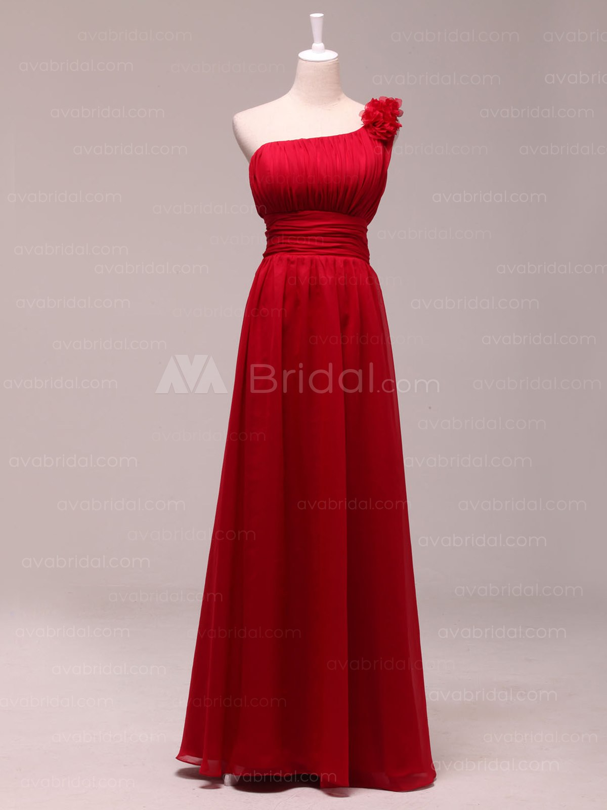 Chic Asymmetrical Neckline Chiffon Bridesmaid Dress B461-Front