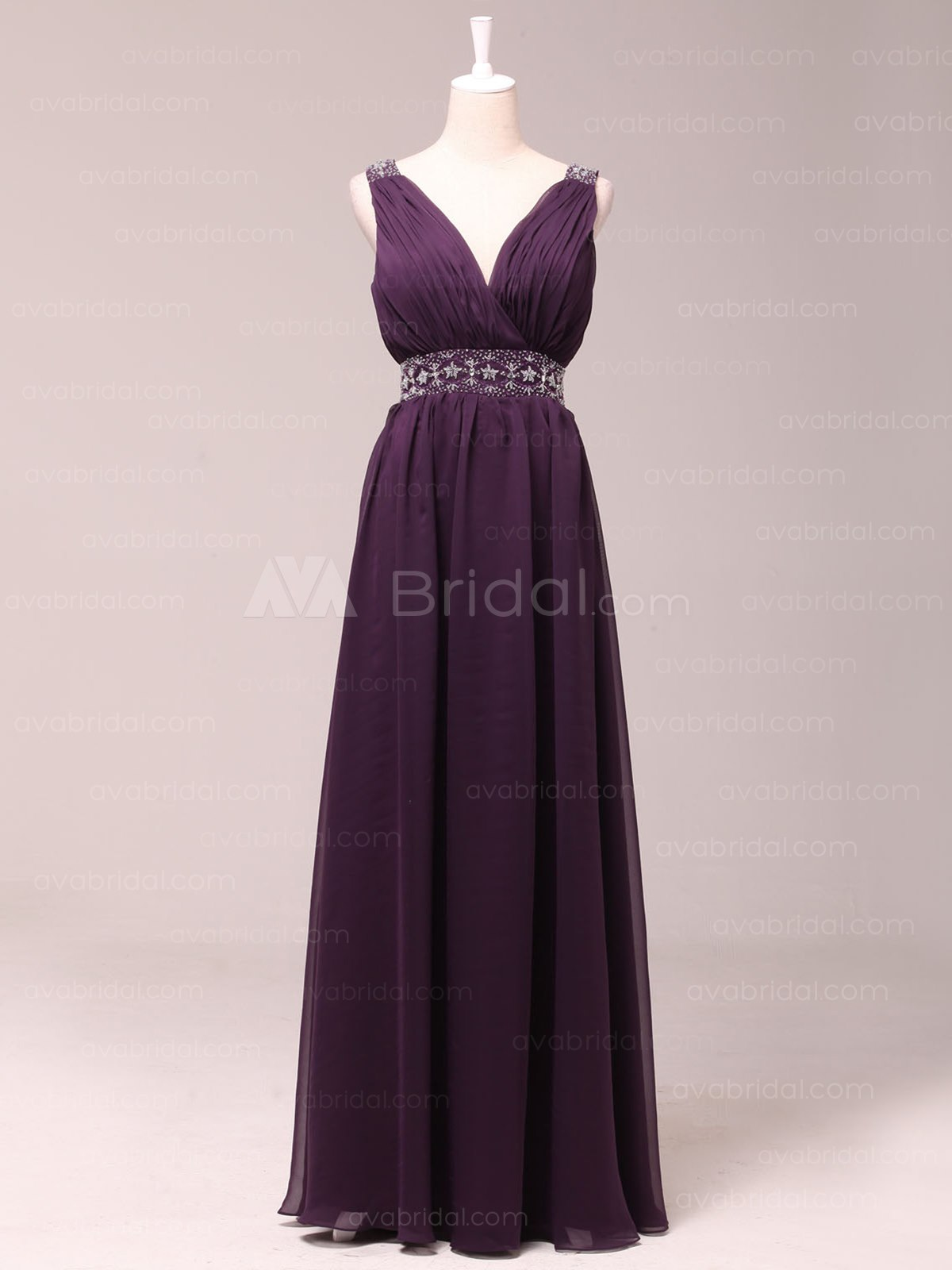 Modern V-neck Chiffon Bridesmaid Dress B463-Front