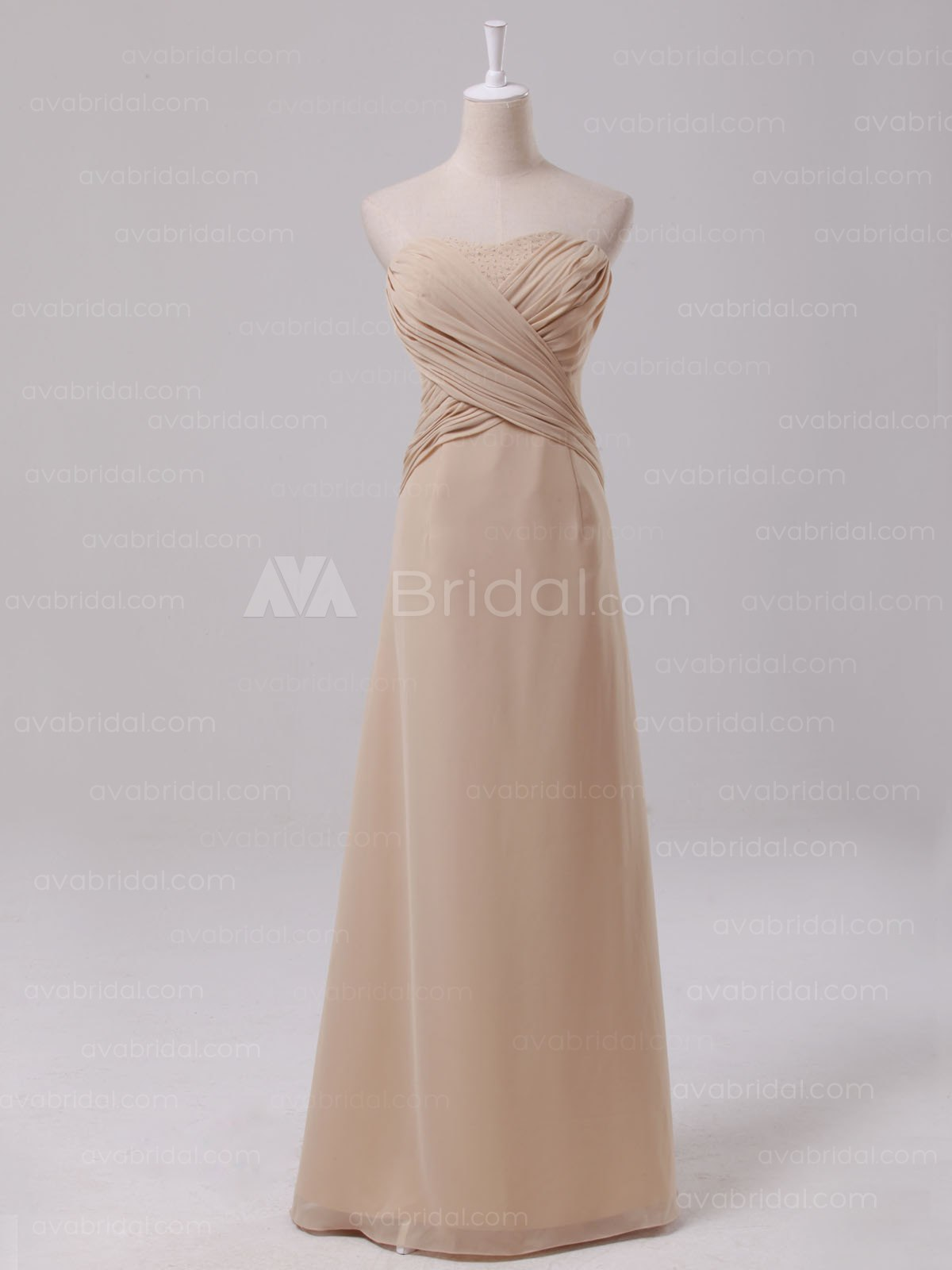 Dramatic Sheath Chiffon Bridesmaid Dress B466-Front