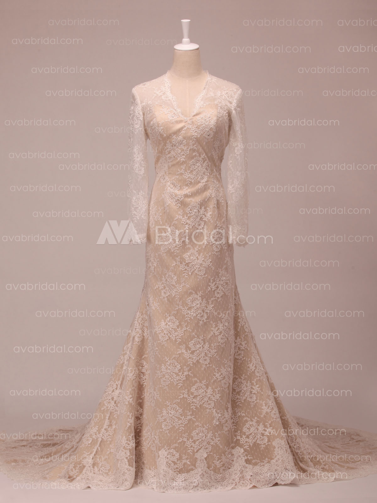 Lace Long Sleeved Wedding Dress - Victoria - Front