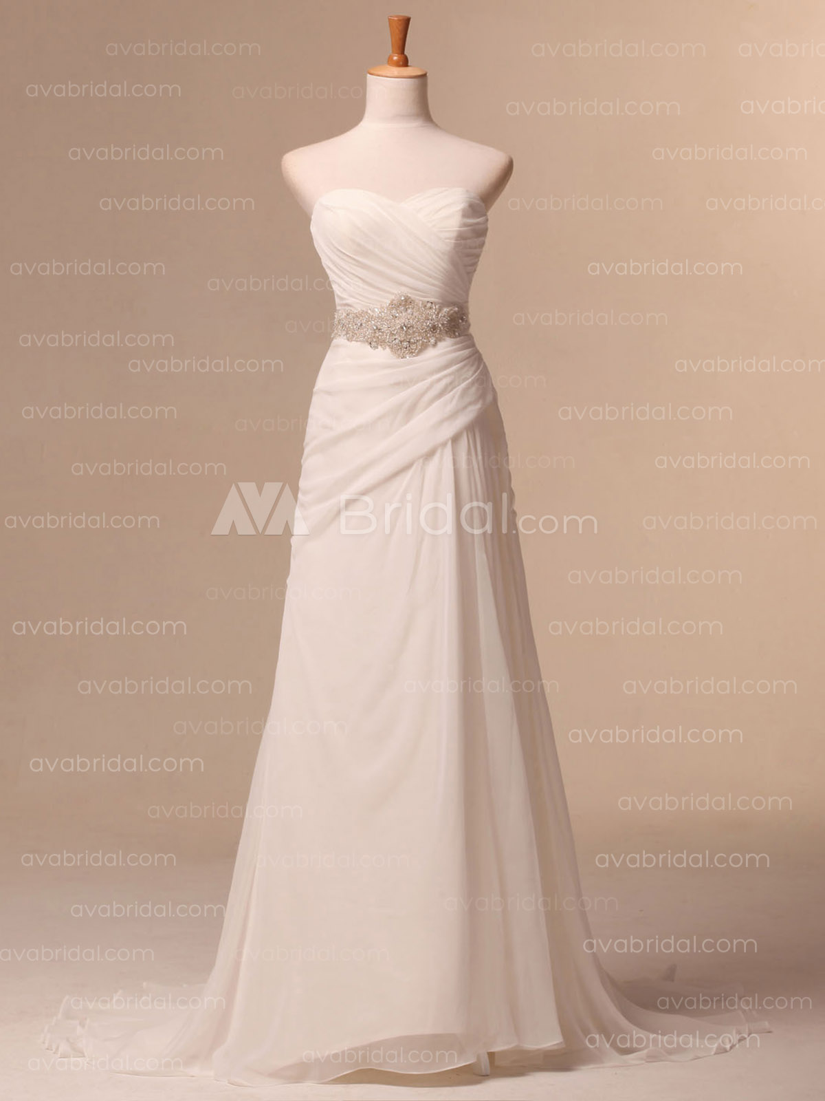 Simple Chiffon Wedding Dress - Anika - Front