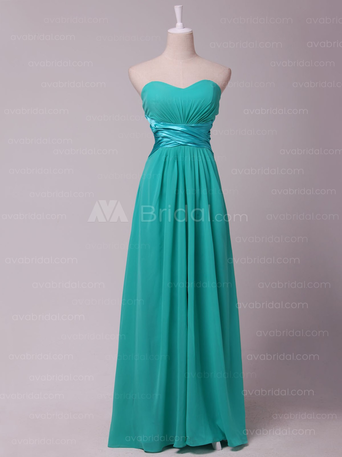 Modern Slim Line Chiffon Bridesmaid Dress B454-Front