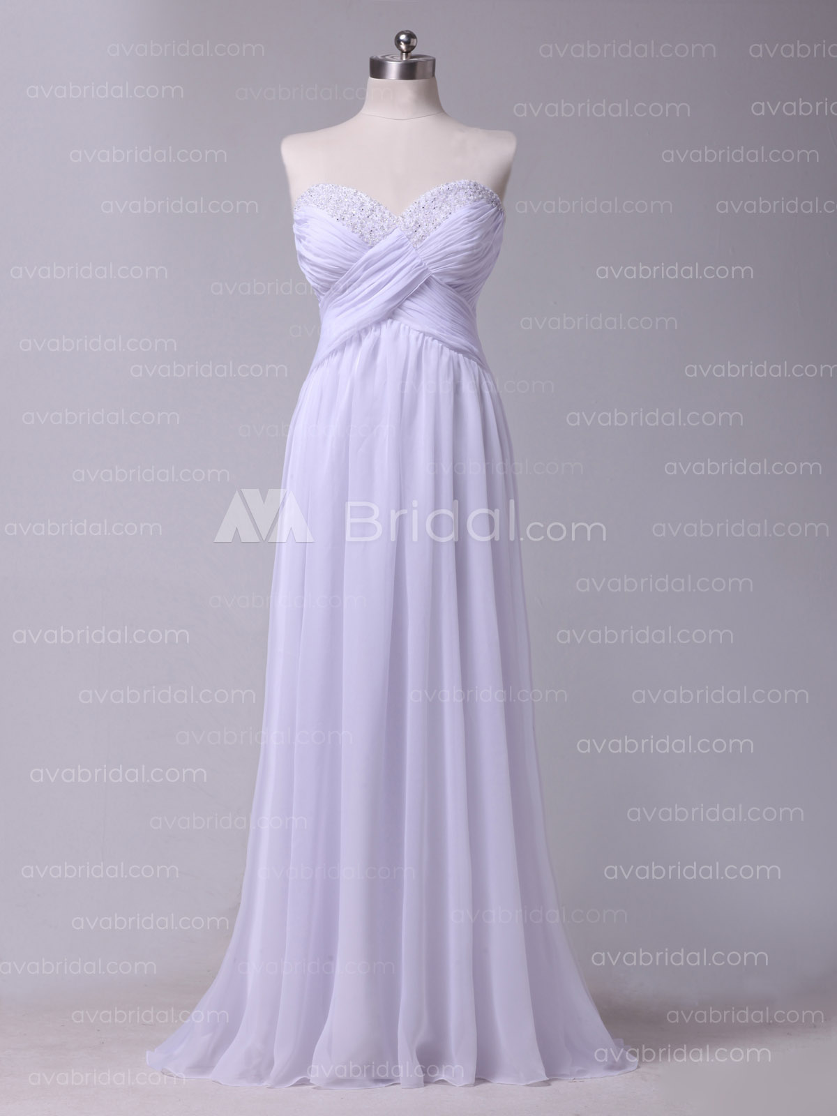 Slim Line Beach Casual Chiffon Bridesmaid Dress B487 - Front
