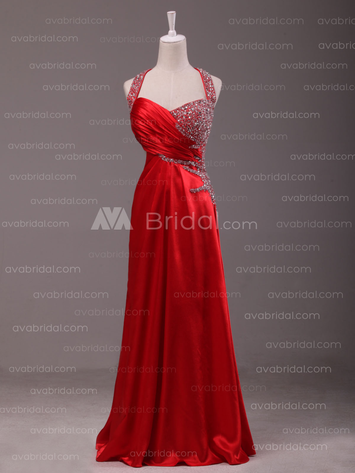 Asymmetrical Beaded Formal Dress B489 - Front