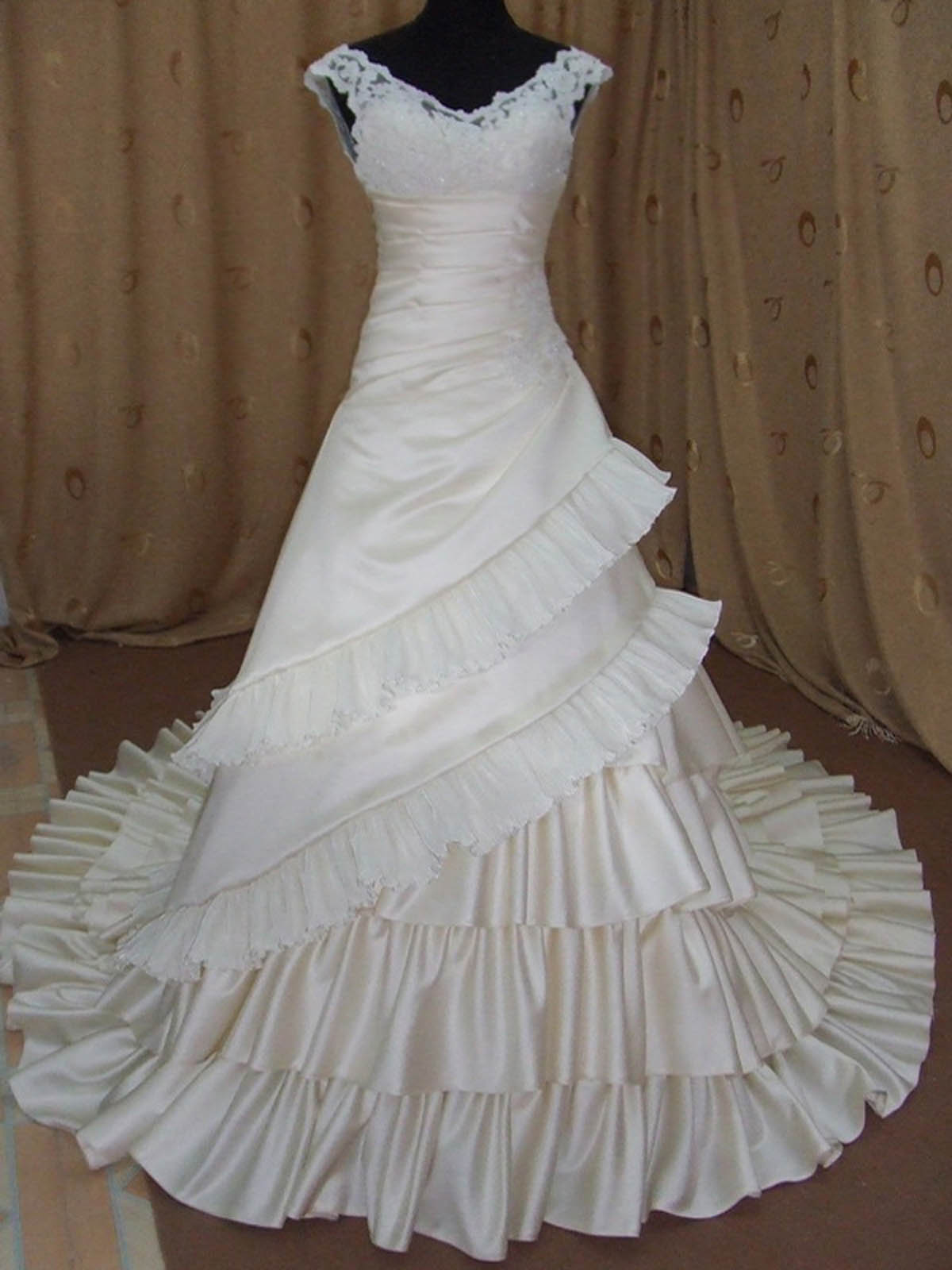 A-line Off-the-shoulder Taffeta Wedding Dress w115-Front