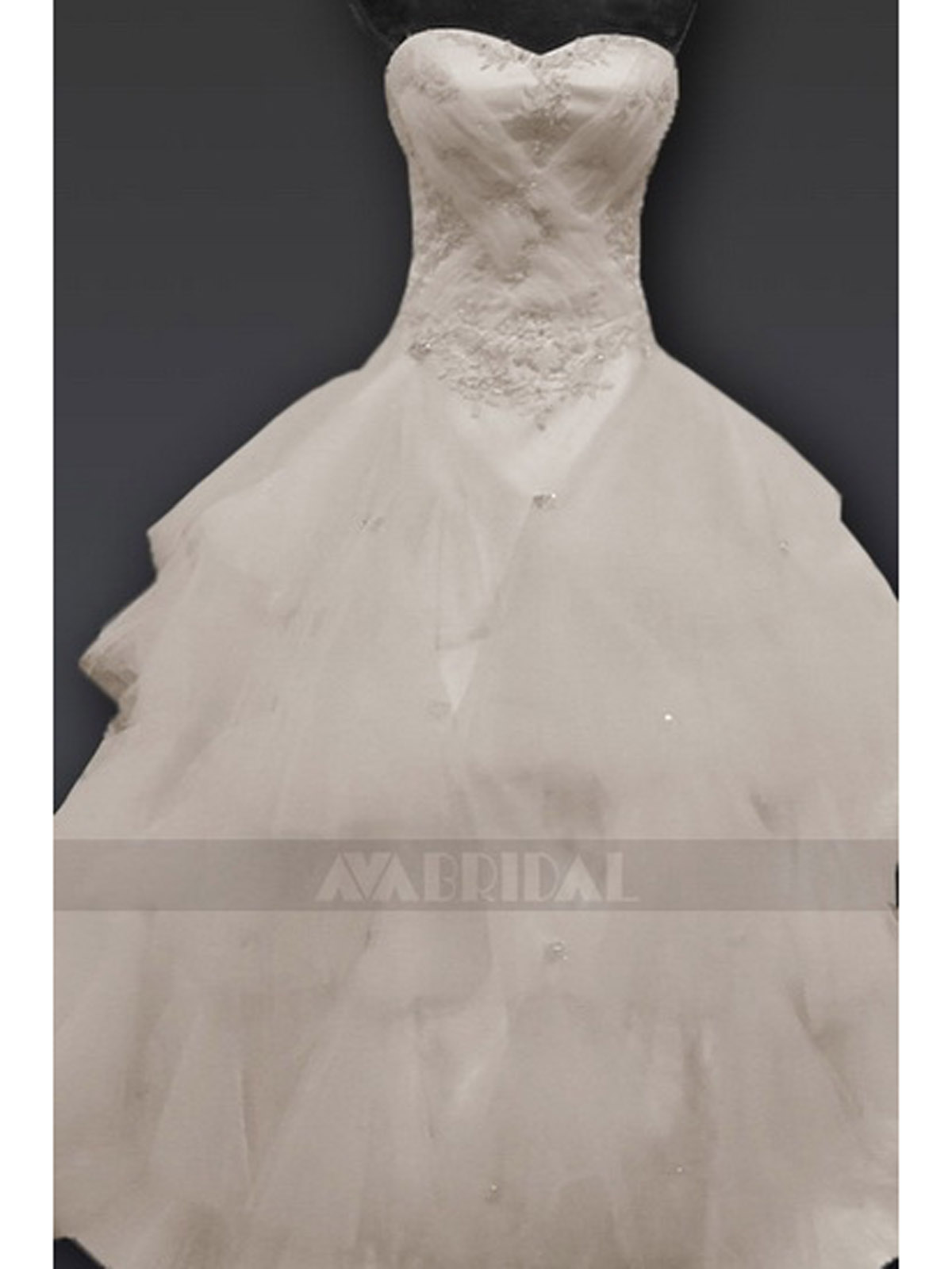 Sweetheart Neck Tulle Ball Gown W674-Front