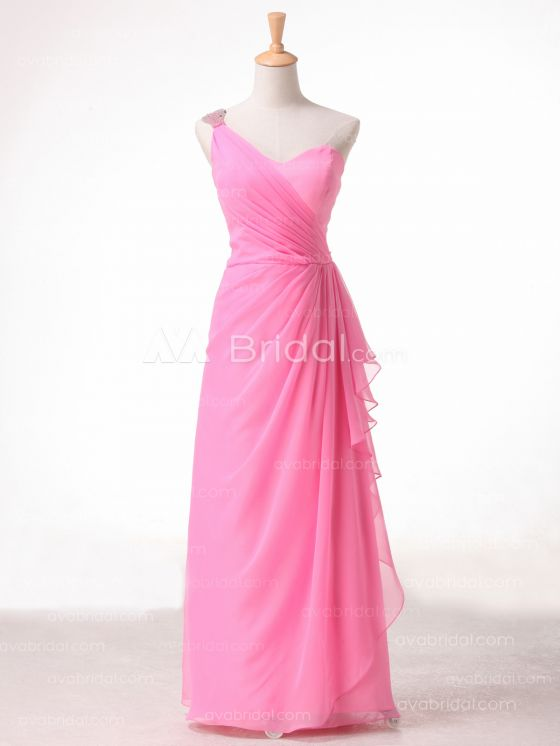 A-line One Shoulder Strap Bridesmaid Dress B491 - Front