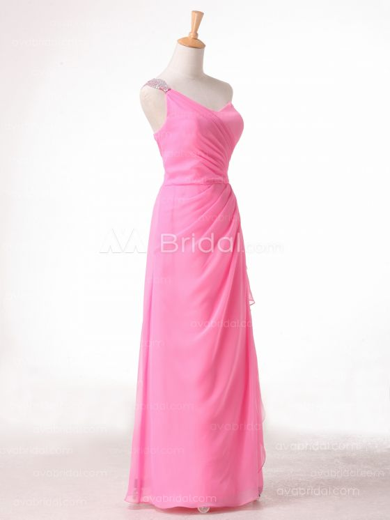 A-line One Shoulder Strap Bridesmaid Dress B491 - Right
