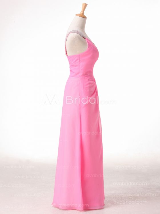 A-line One Shoulder Strap Bridesmaid Dress B491 - Right Side