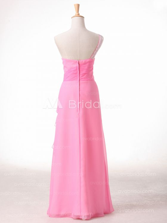 A-line One Shoulder Strap Bridesmaid Dress B491 - Back
