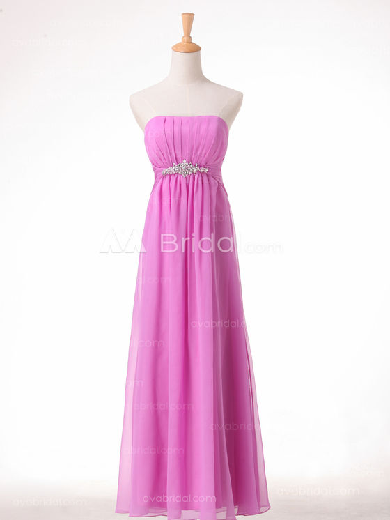 Slim Line Chiffon Simple Bridesmaid Dress B492 - Front