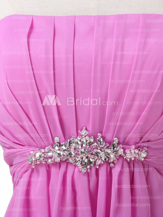 Slim Line Chiffon Simple Bridesmaid Dress B492 - Embellishment