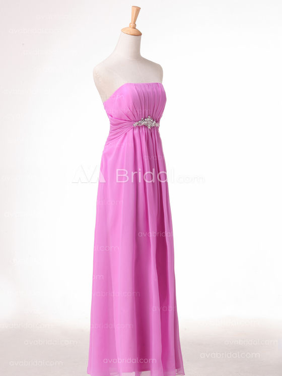 Slim Line Chiffon Simple Bridesmaid Dress B492 - Right Side