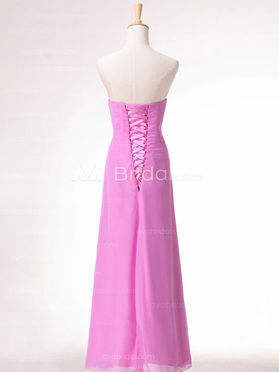 Slim Line Chiffon Simple Bridesmaid Dress B492 - Back