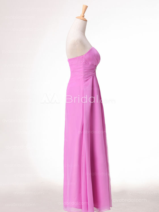 Slim Line Chiffon Simple Bridesmaid Dress B492 - Right