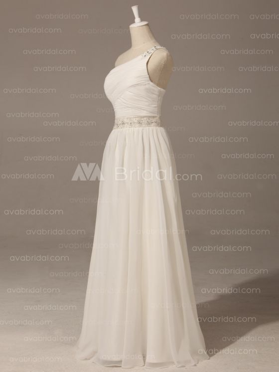 Grecian Goddess Wedding Dress - Pamela - Left Side