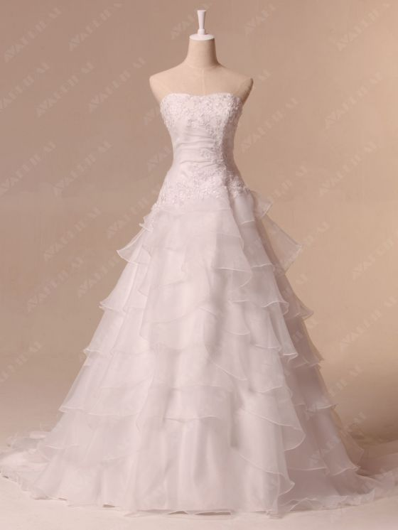 Hem Layered Wedding Dress - Aya - Front