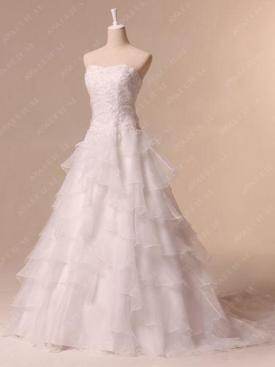 Hem Layered Wedding Dress - Aya - Left side