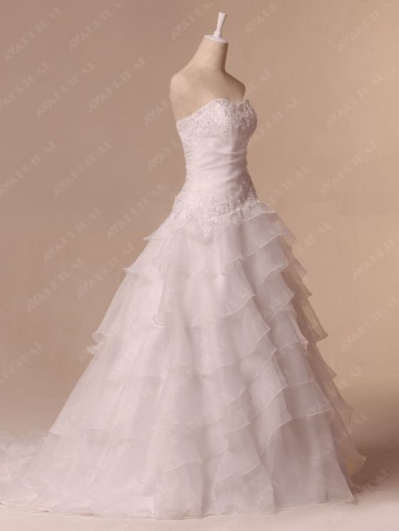 Hem Layered Wedding Dress - Aya - Right Side