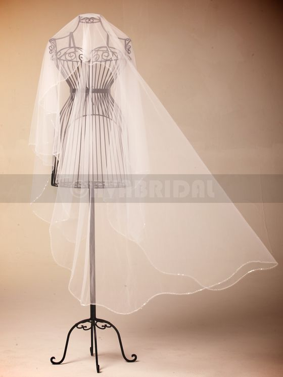 One Tier Chapel Length Veil Cut Edge