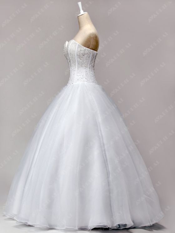 A-line Princess Wedding Dress - Abbie - Left Side