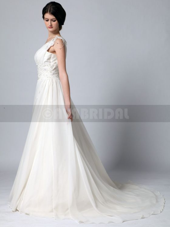 Grecian Goddess Wedding Dress - Zoe -left side