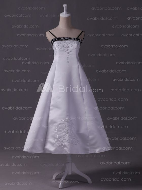 Embroidered Satin Flower Girl Dress F234 - Front