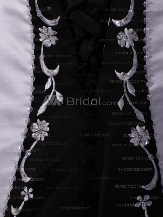 Embroidered Satin Flower Girl Dress F234  - Back Closure