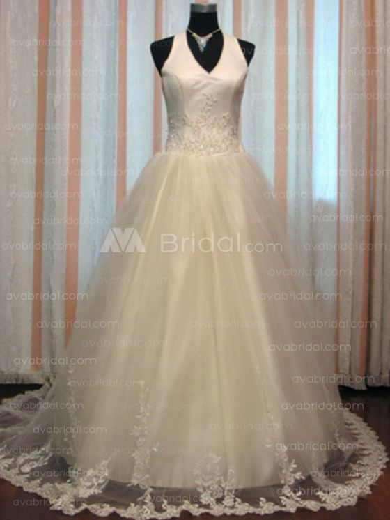 Halter Chapel Train Tulle Ball Gown (W681)-Front