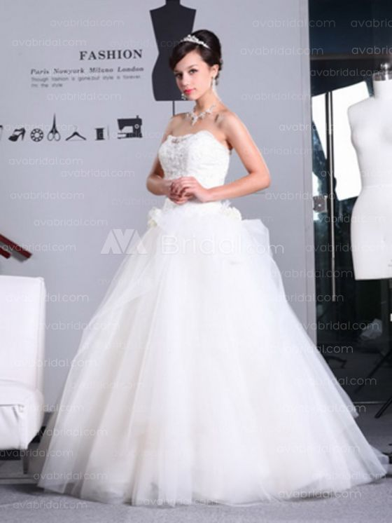 Princess Scalloped Neckline Sweep Train Tulle Wedding Dress W602-Front