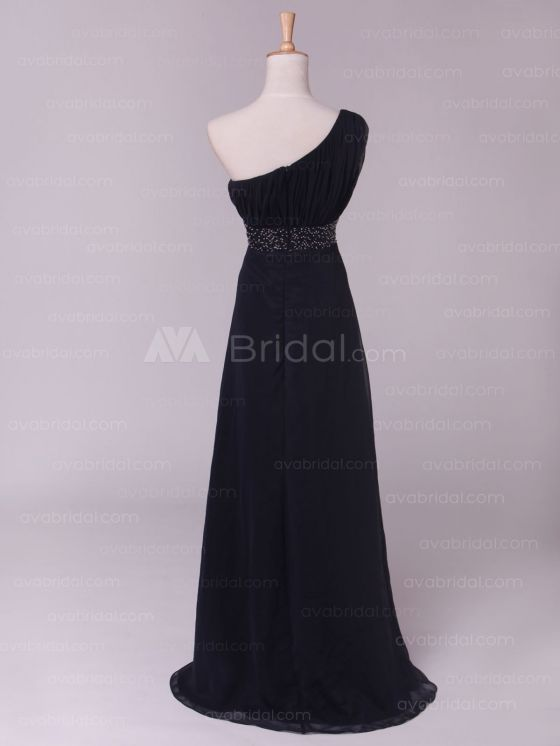 Vintage Asymmetrical Neckline Bridesmaid Bress B457-Back