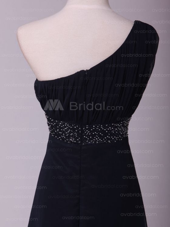 Vintage Asymmetrical Neckline Bridesmaid Bress B457-Back Detail